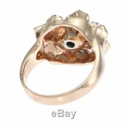 0.65CTW 1890s Antique Victorian Diamond Ruby Flower Cocktail Ring 14k Rose Gold