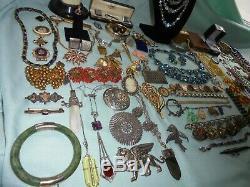 100 HUGE Antique VTG Jewelry Lot Victorian Nouveau Deco 14K Gold 925 GF Cartier