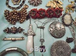 100+ HUGE Antique VTG Jewelry Lot Victorian Nouveau Deco 14K Gold 925 GF Costume