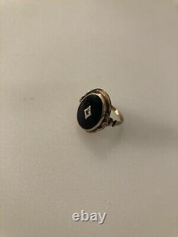10K Gold Black Onyx Diamond Ring Size 8 Mourning Jewelry Estate Antique Vintage