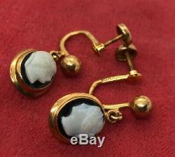 10k Gold Estate Vintage Earrings BDA signed Antique Cameo Victorian Screw Back
