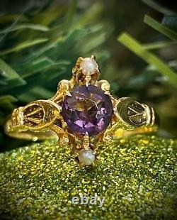 10k Yellow Gold Victorian Amethyst and Seed Pearl Estate Ring Vintage Antique
