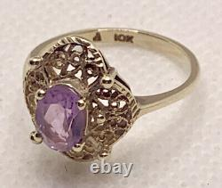 10k Yellow Gold Vintage Amethyst Oval Cut Ring Victorian 2.32g Size 6 2ct Estate
