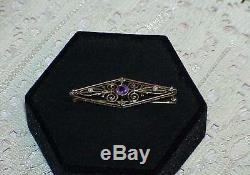 14K Amethyst Seed Pearl Filigree Brooch Pin Victorian Estate Antique Yellow Gold