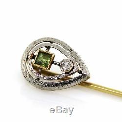 14K Two-Tone Gold Victorian Peridot Diamond Engraved Antique Estate Stick Pin