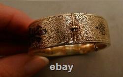 14K YELLOW GOLD VICTORIAN TAILLE d'EPARGNE ENAMEL BRACELET, 22gr, 5/8W, ESTATE