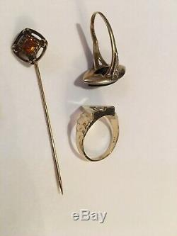 14K Yellow Gold Antique Vintage Estate Jewelry Lot Rings Pins Not Scrap 15.9 G