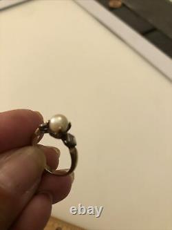 14k GOLD Diamond Pearl Sz 6 Victorian Ring Estate Antique