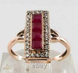 14k Rose Gold Plated Victorian Edwardian Elongated Estate Ring 2.41 Ct Garnet