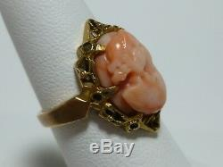 14k Yellow Gold Victorian Nouveau Carved Cameo Coral Antique Old Estate Ring
