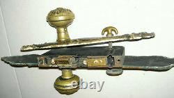 16 DOOR PLATE With ANTIQUE VICTORIAN BRASS & CAST IRON DOOR KNOB SET ESTATE # 71