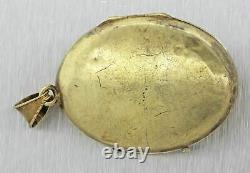 1850s Antique Victorian Estate 14k Solid Yellow Gold Diamond Pendant Locket