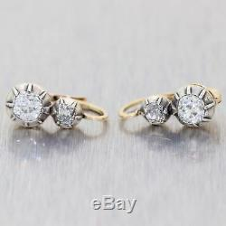 1860 Antique Victorian Estate Silver on Gold 1.00ctw Diamond Clip-on Earrings A9