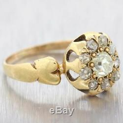 1860s Antique Victorian Estate 14k Yellow Gold. 70ctw Diamond Cocktail Ring A9