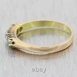 1870s Antique Victorian Estate 14k Yellow Gold. 20ctw Diamond Emerald Band Ring