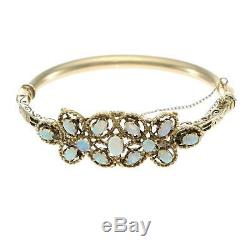 1870s Antique Victorian Fire Opal Bangle Bracelet 14k Yellow Gold 6.75inch 20.9g