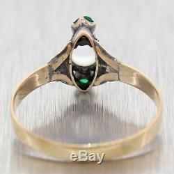1880 Antique Victorian Estate 14k Yellow Gold Moonstone Emerald Cocktail Ring A9
