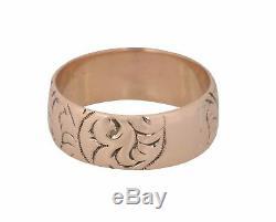 1880's Antique Victorian Estate 14K Rose Gold Engraved 7mm Wide Band Ring