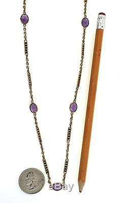 1880s Antique Victorian 14k Yellow Gold 27ctw Amethyst Fob Chain Estate Necklace