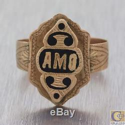 1880s Antique Victorian Estate 10ct Rose Gold Enamel AMO Initial Ring M8