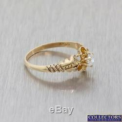 1880s Antique Victorian Estate 10k Yellow Gold. 28ctw Diamond Solitaire Ring Y8