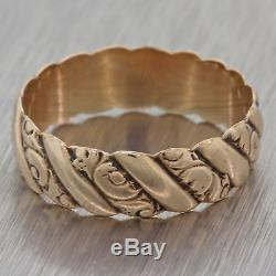 1880s Antique Victorian Estate 14k Rose Gold 5mm Wide Wedding Band Ring F8