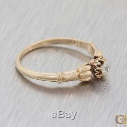 1880s Antique Victorian Estate 14k Rose Gold Old Mine Cut Diamond Ring M8