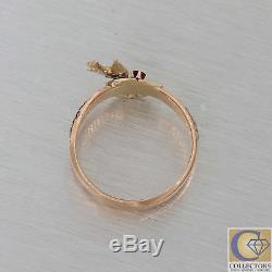 1880s Antique Victorian Estate 14k Rose Gold Ruby Diamond Enamel Swallow Ring Y8