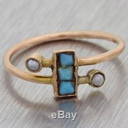 1880s Antique Victorian Estate 14k Rose Gold Seed Pearl Turquoise Steampunk Ring