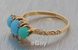1880s Antique Victorian Estate 14k Rose Gold Turquoise Diamond Cocktail Ring F8
