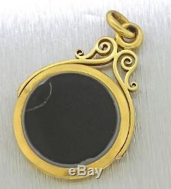 1880s Antique Victorian Estate 14k Solid Yellow Gold Agate Locket Pendant