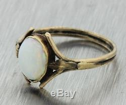1880s Antique Victorian Estate 14k Solid Yellow Gold Light White Oval Opal Ring