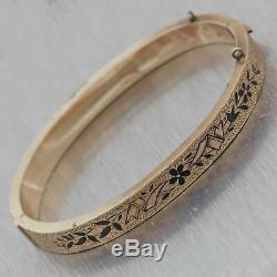 1880s Antique Victorian Estate 14k Yellow Gold Black Enamel 6mm Bangle Bracelet