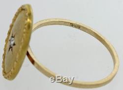 1880s Antique Victorian Estate 14k Yellow Gold Diamond Jewish Star Cocktail Ring