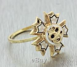 1880s Antique Victorian Estate 14k Yellow Gold Enamel Star Sigma Nu College Ring