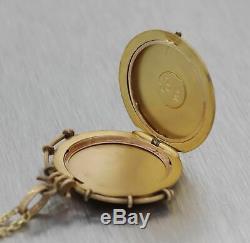 1880s Antique Victorian Estate 14k Yellow Gold Etched Locket Pendant Necklace E8
