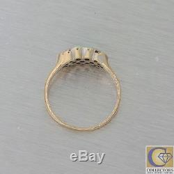 1880s Antique Victorian Estate 14k Yellow Gold Fire Opal Pearl Diamond Ring Y8