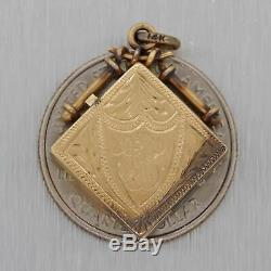 1880s Antique Victorian Estate 14k Yellow Gold Locket Necklace Pendant