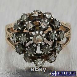 1880s Antique Victorian Estate Silver Rose Gold Diamond Cluster Ring E8