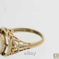 1880s Antique Victorian Estate Solid 10k Yellow Gold Moonstone Cocktail Ring A8