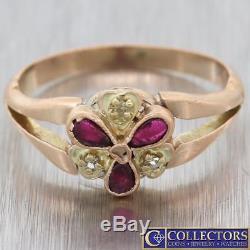 1880s Antique Victorian Estate Solid 14k Rose Gold Garnet Diamond Ring S8