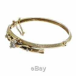 1880s Antique Victorian Oval Diamond Bangle Bracelet 14k Yellow Gold 1.2CTW 6.75