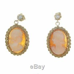 1880s Antique Victorian Pearl Lady Cameo Stud Earrings 14k Yellow Gold Carnelean