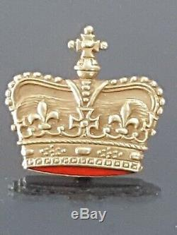 1890s Antique Victorian Estate 14k Yellow Gold Crown VINTAGE Enamel Brooch PIN
