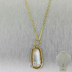 1890s Antique Victorian Estate 14k Yellow Gold Moonstone Pendant Chain Necklace