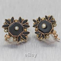 1890s Antique Victorian Estate 14k Yellow Gold Onyx Pearl Hook Earrings