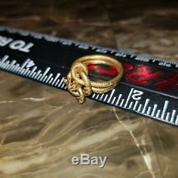 1890s Antique Victorian Estate 22k Yellow Gold Seed Pearl Snake Ring open seting