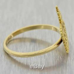 1890s Antique Victorian Estate Solid 14k Yellow Gold Crown Enamel Cocktail Ring