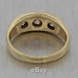 1920s Antique Victorian Estate 14k Yellow Gold. 75ctw Diamond Gypsy Band Ring