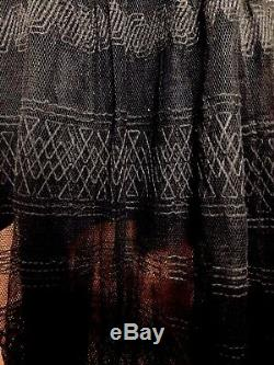 19th Century Victorian Antique Mourning Black Bodice Lace 2 Piece Dress Estate